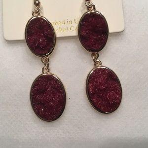 Double Oval Burgundy Faux Druzy Earrings